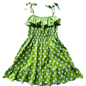 Girls Cotton Lime Green Pollkadot Dress 10-12
